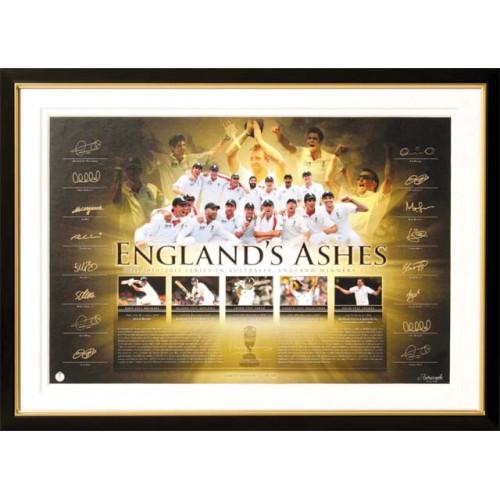 Ashes 2010/11 Print with original signatures