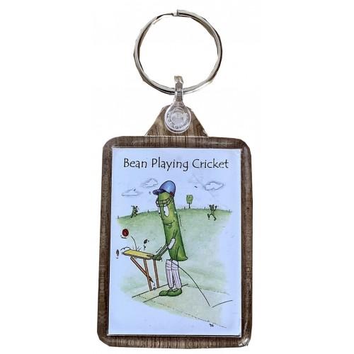 Bean Playing Cricket Keyring