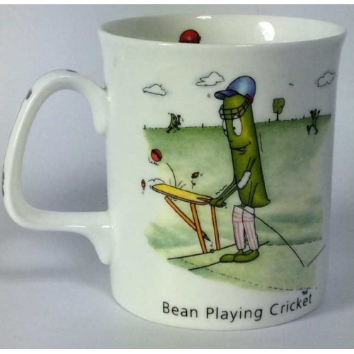 Bean Playing Cricket Bone China Mug